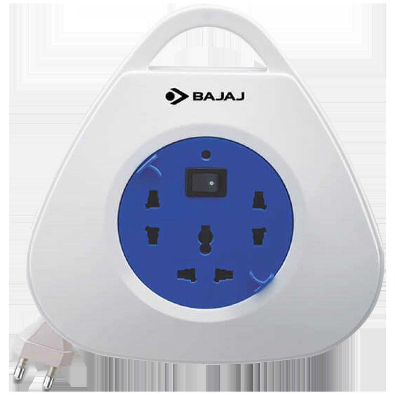 Bajaj Extension Reel 2500 Amps 3 Sockets Extension Board (5 Meters, Resettable Circuit Breaker, 11003, White)_1