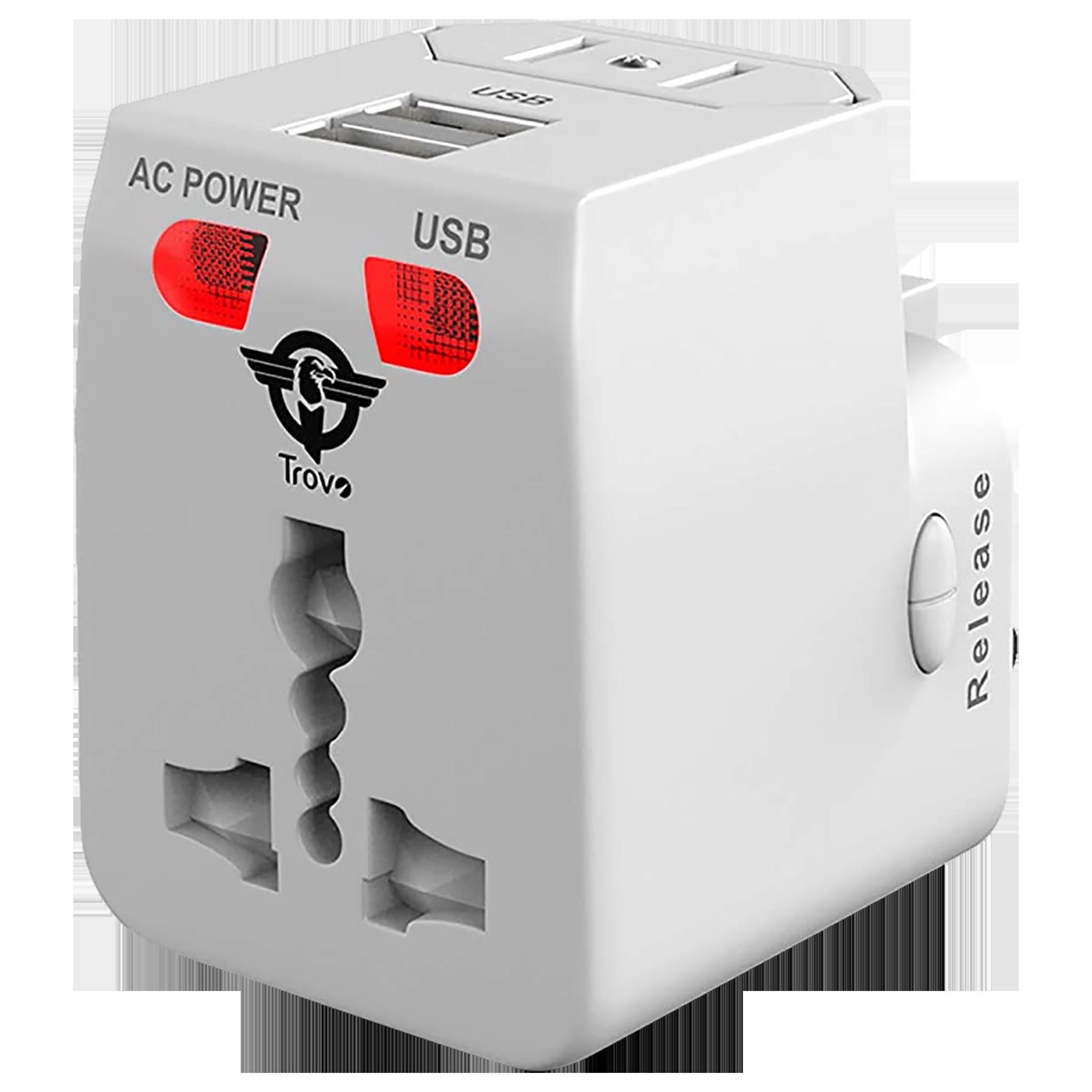 Trovo Plug Pack Lite 3 Plugs Adapter (Dual USB Ports, TTA-11, White)_1
