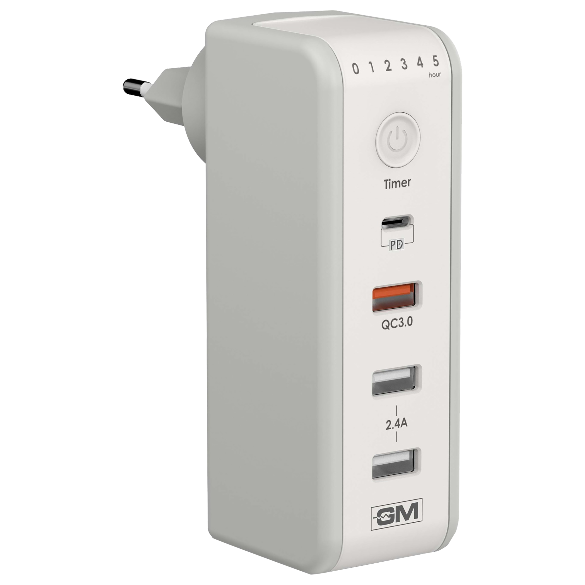 GM CUBA 18 Watts 3 Amps 4 Port USB PD Type C/USB QC 3.0/USB 2.0 (Type A) Wall Charging Adapter (Fast Charge, GM 3263, White)_1