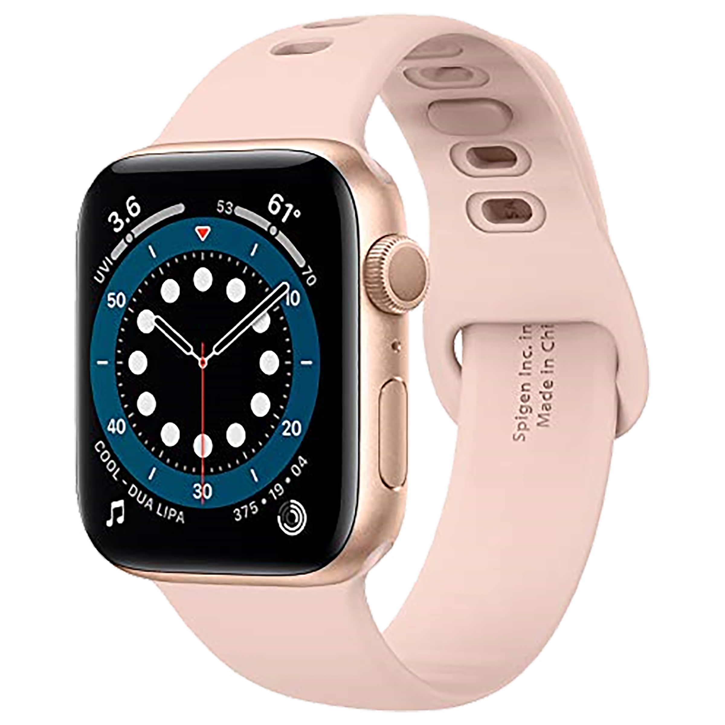 Spigen Silicone Fit Strap For Apple Watch Series 6/SE/5/4/3/2/1 (42mm/44mm) (062MP25401, Rose Gold)_1