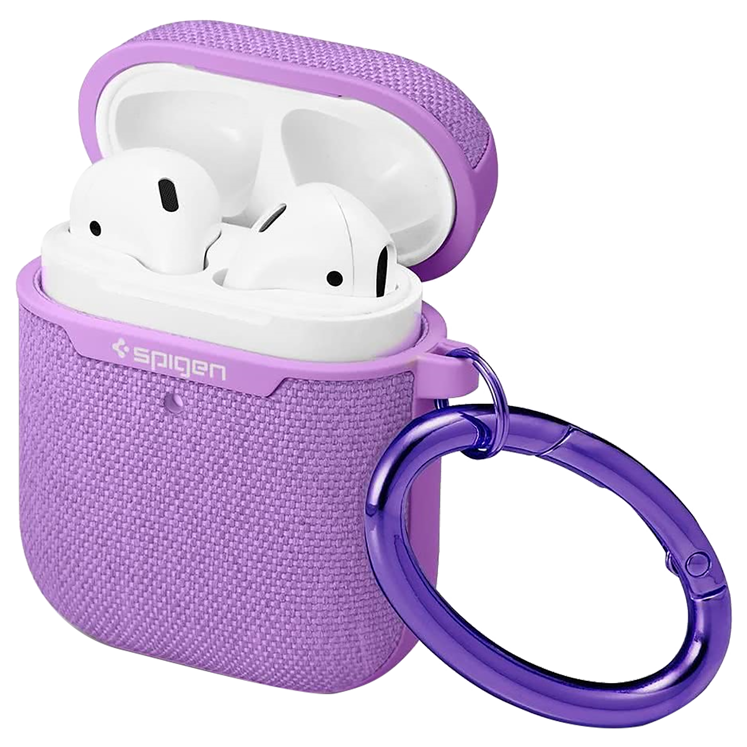 Spigen Urban Fit PC & Fabric Full Cover Case For Apple AirPods 1/2 (Supports LED Light & Wireless Charging, 074CS27599, Purple)_1