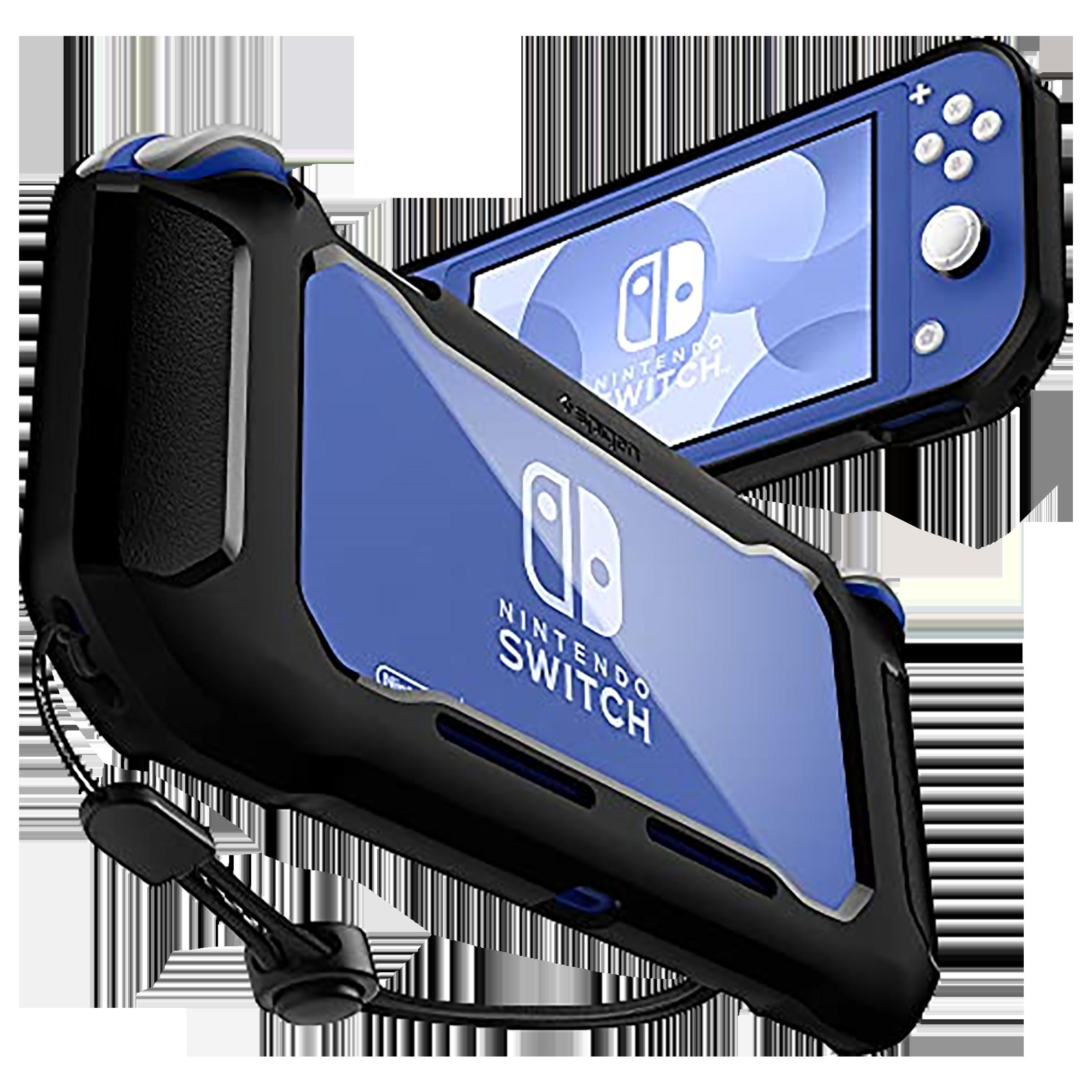 Spigen Rugged Armor Back Case For Nintendo Switch Lite (Raised Bumper Guard, ACS00212, Matte Black)_1