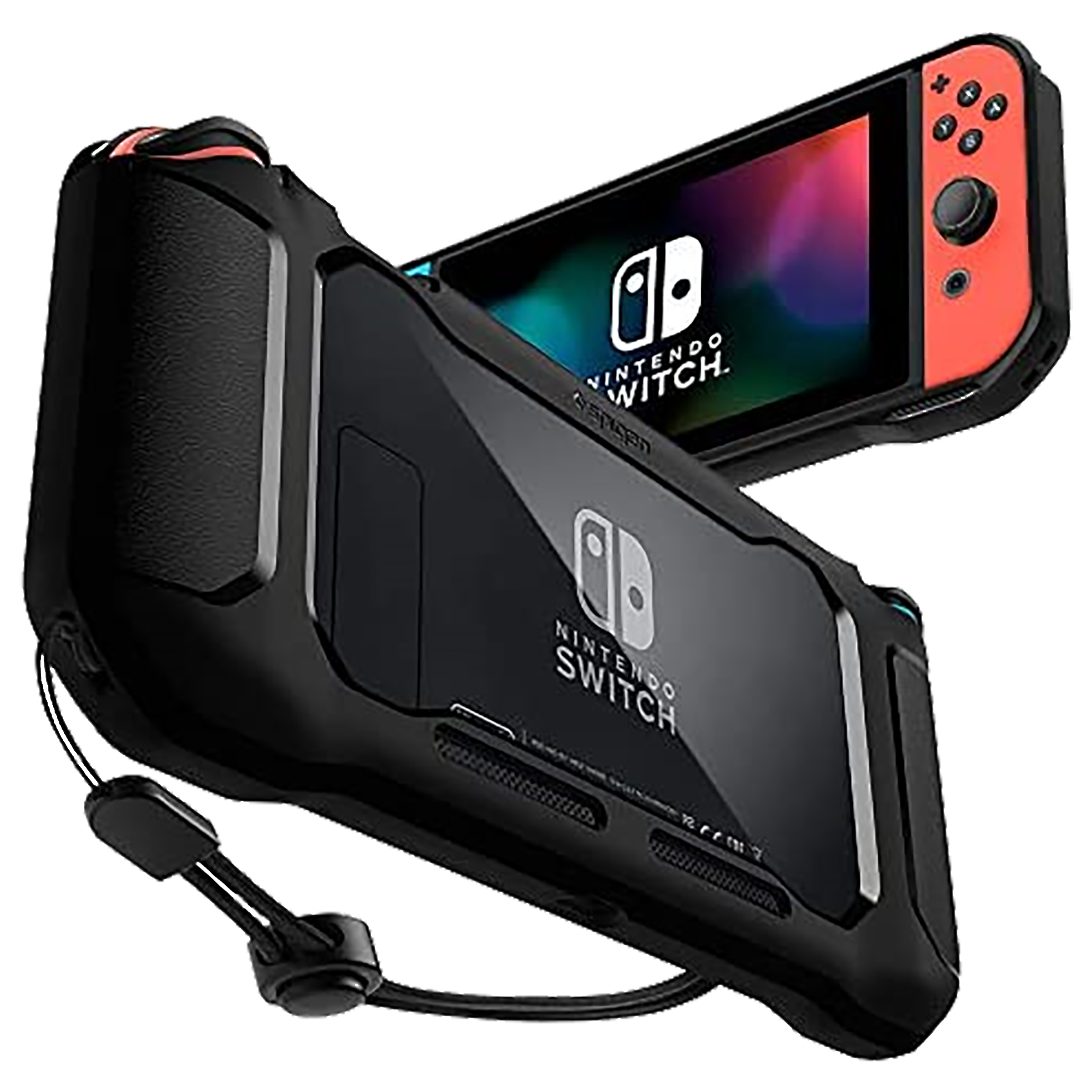 Spigen Rugged Armor PC & TPU Back Case For Nintendo Switch (Added Texture Around Control Stations, ACS01228, Matte Black)_1