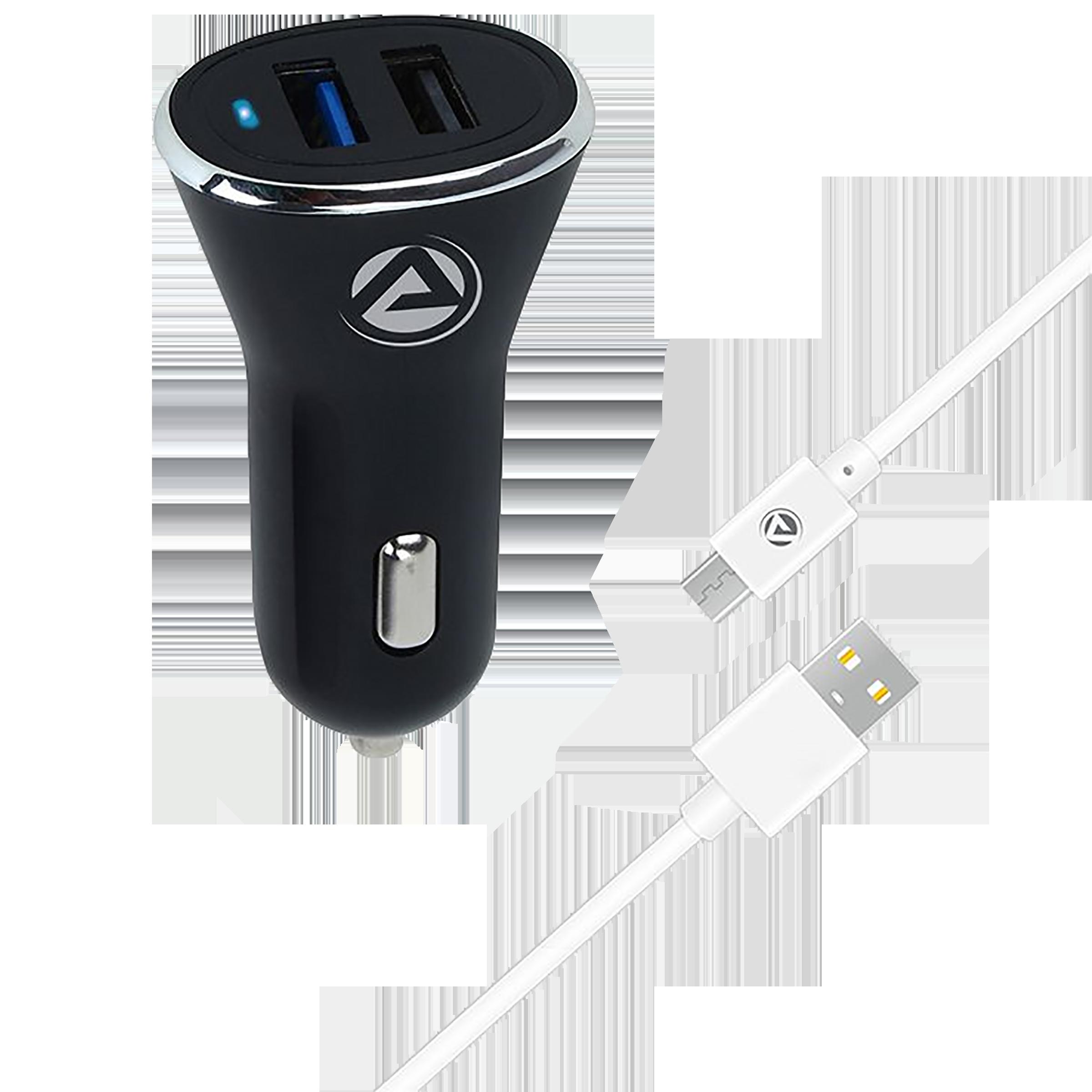 ARU 24 Watts 2 USB Ports Car Charging Adapter (Fast Charging, AQC-24, Black)_1