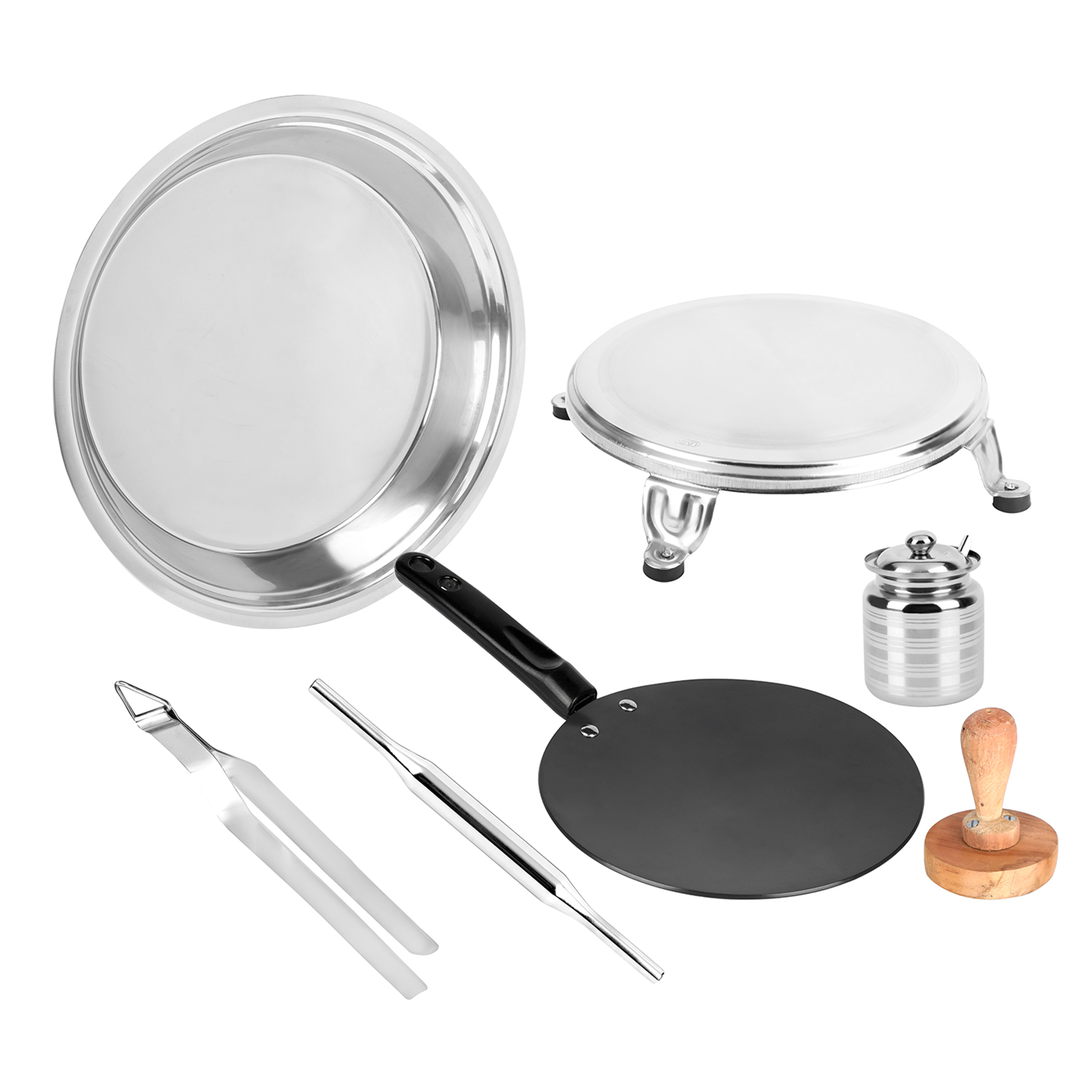 Vinod Omega Stainless Steel Roti Maker Set (7 Pieces, RMS, Silver)_1