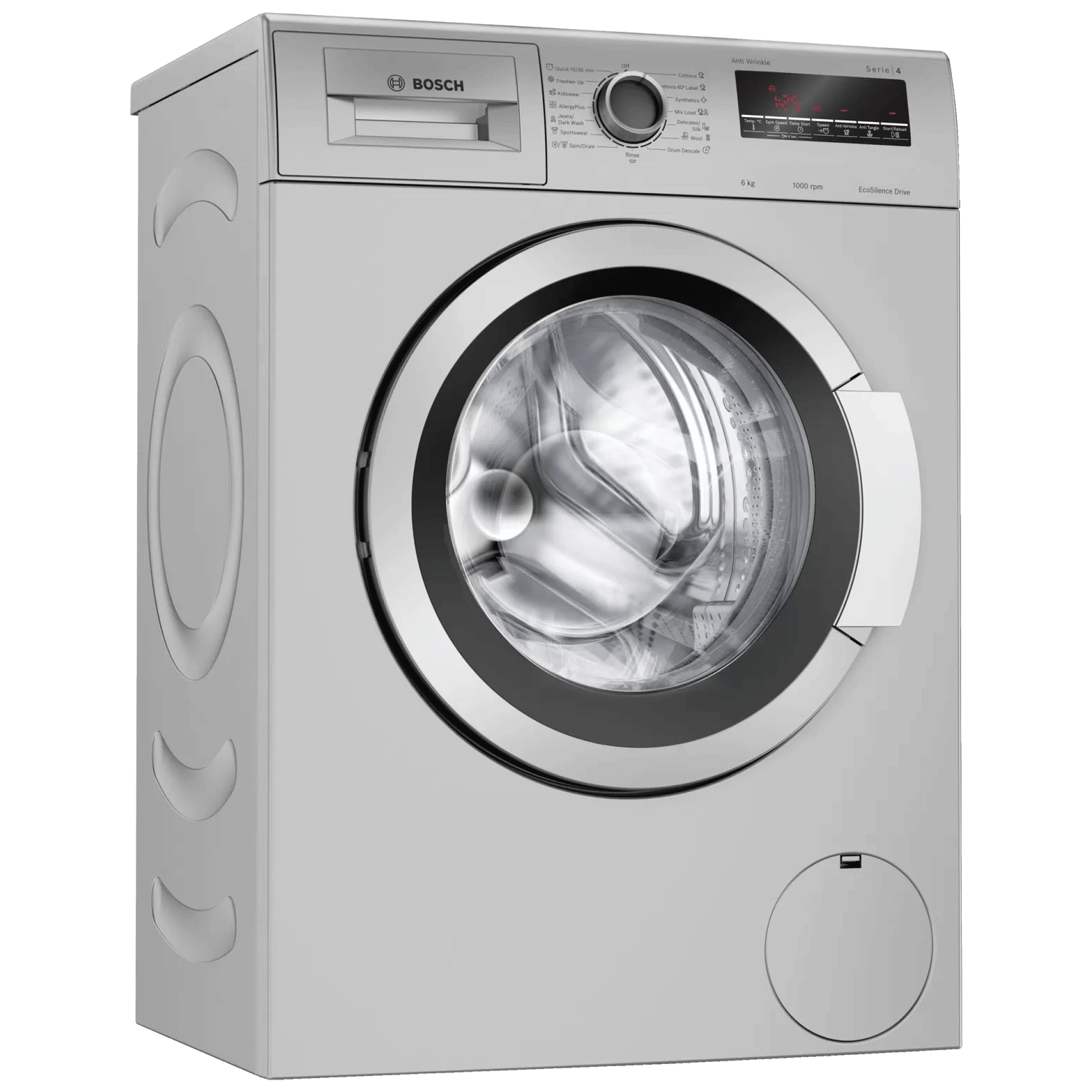 Bosch serie 4 6kg Fully Automatic Front Load Washing Machine (Anti-tangle Feature, WOE704W1IN, Silver)_1