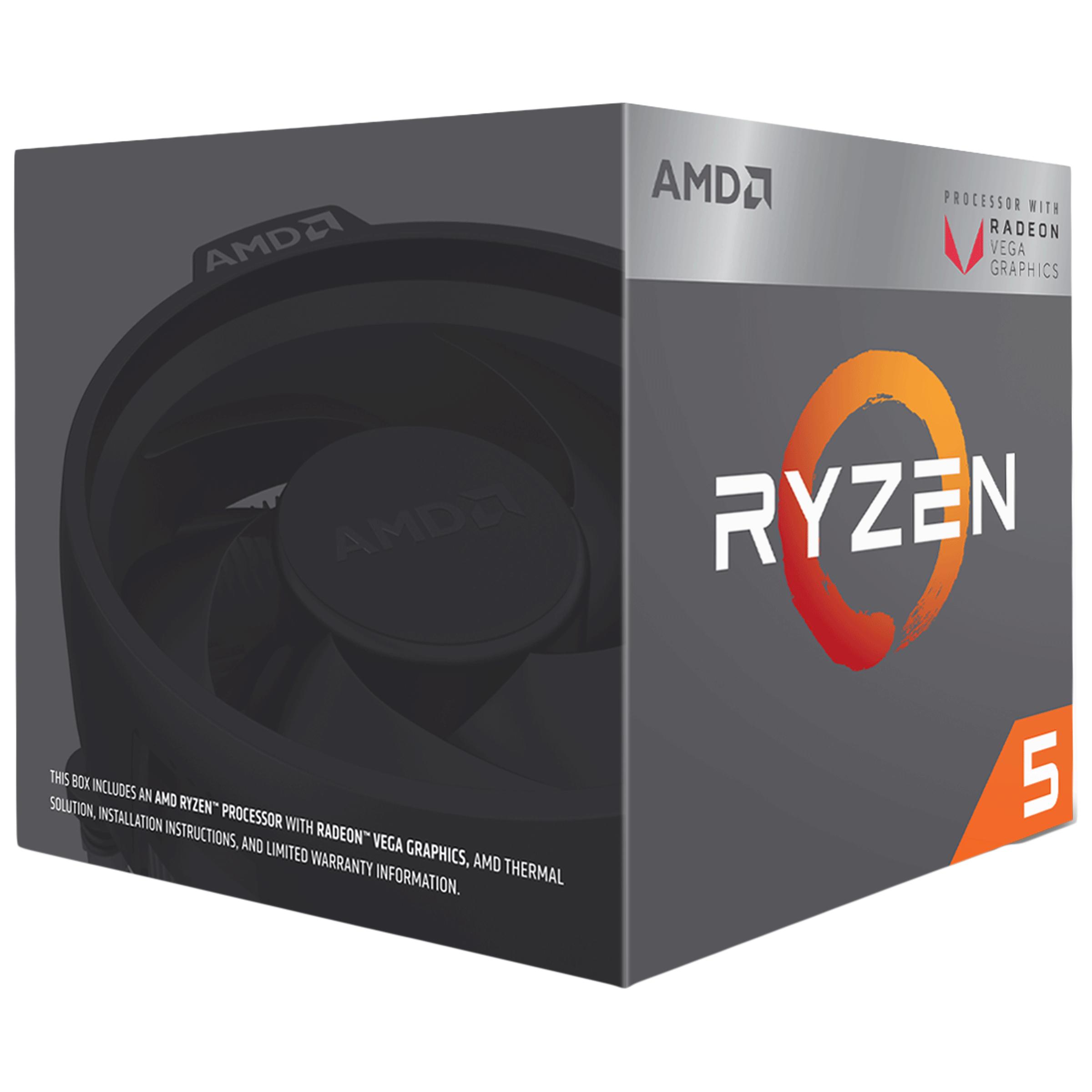 AMD Ryzen 5 Desktop Box Processor (4 Cores, 3.7 GHz, Unlocked For Overclocking, 3400G, Silver)_1