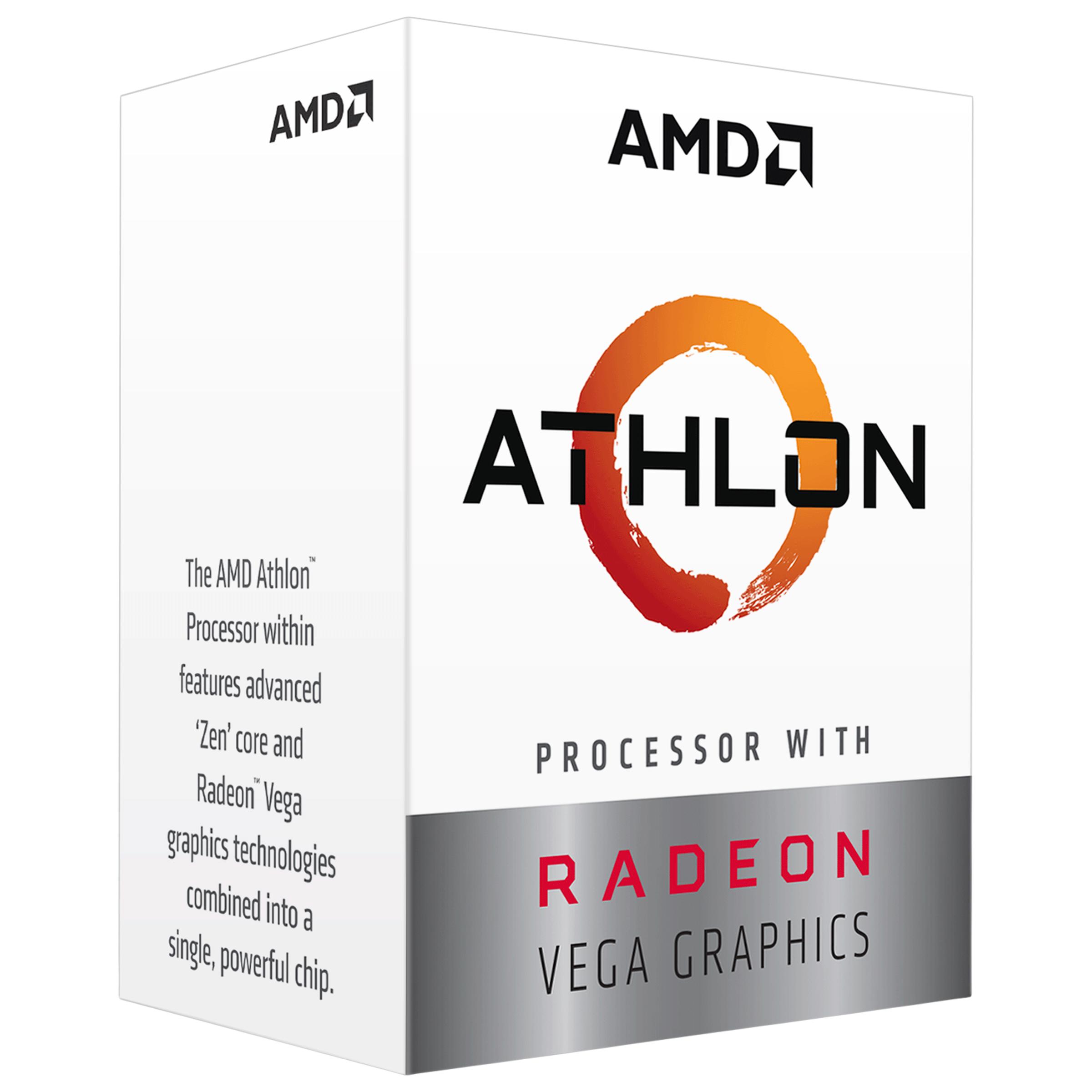 AMD Athlon Desktop Box Processor (2 Cores, 3.5 GHz, Unlocked For Overclocking, 3000G, Silver)_1