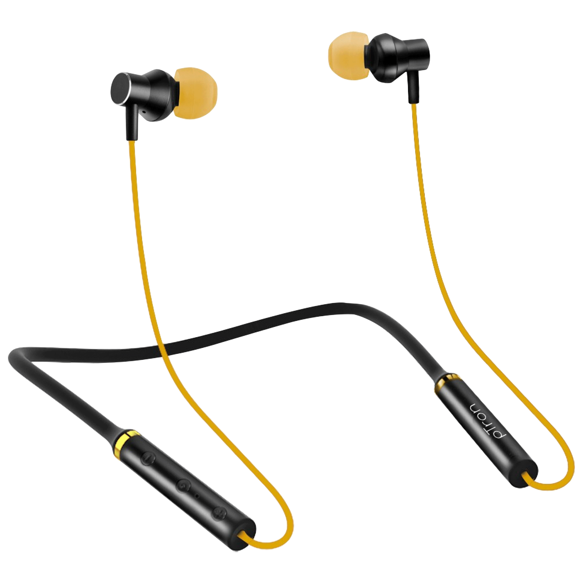 pTron InTunes Beats In-Ear Passive Noise Cancellation Wireless Earphone with Mic (Bluetooth 5.0, Magnetic Locking, 140317888, Black/Yellow)_1