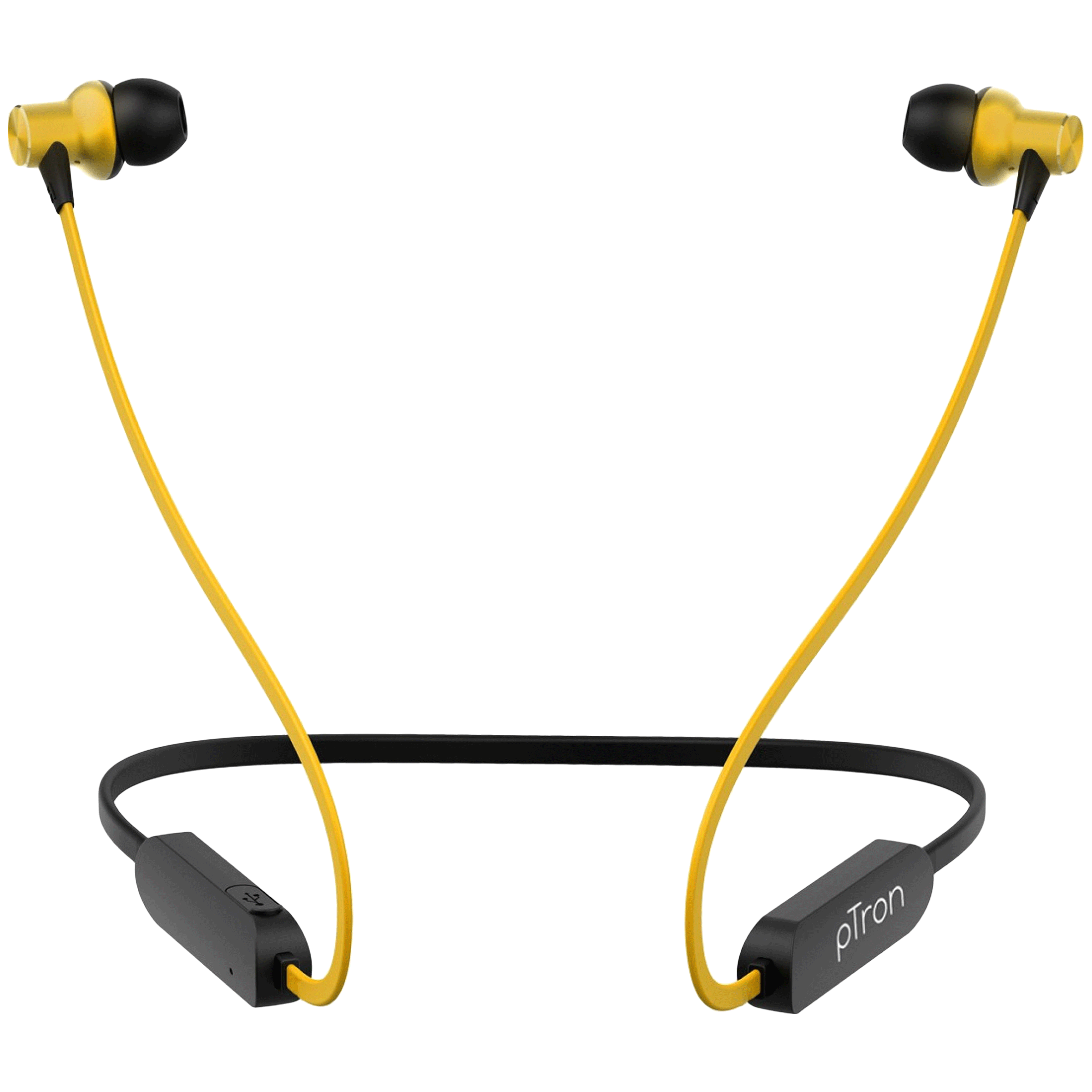 pTron Avento Classic In-Ear Passive Noise Cancellation Wireless Earphone with Mic (Bluetooth 5.0, Magnetic Locking, 140317898, Black/Yellow)_1