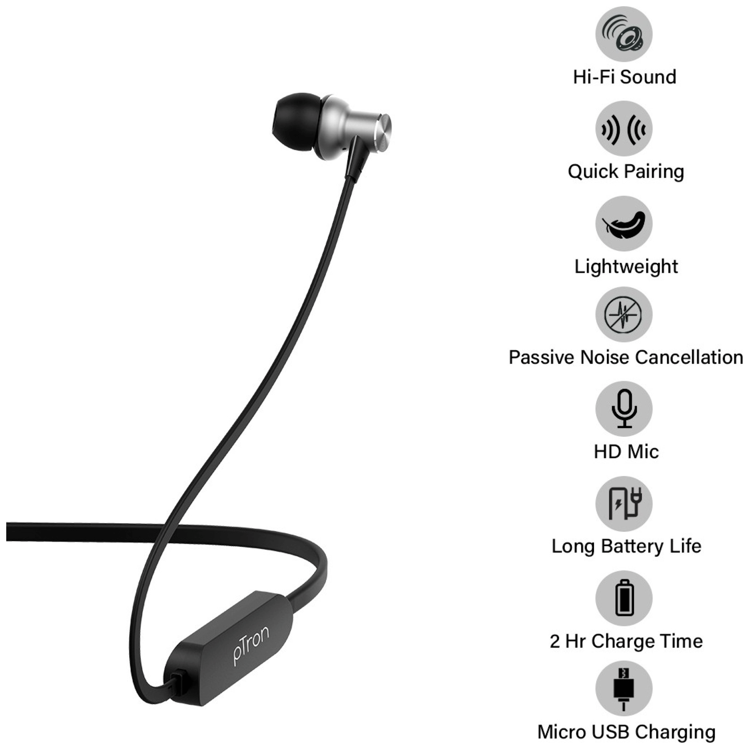 pTron Avento Classic In-Ear Passive Noise Cancellation Wireless Earphone with Mic (Bluetooth 5.0, Magnetic Locking, 140317896, Black/Grey)_2