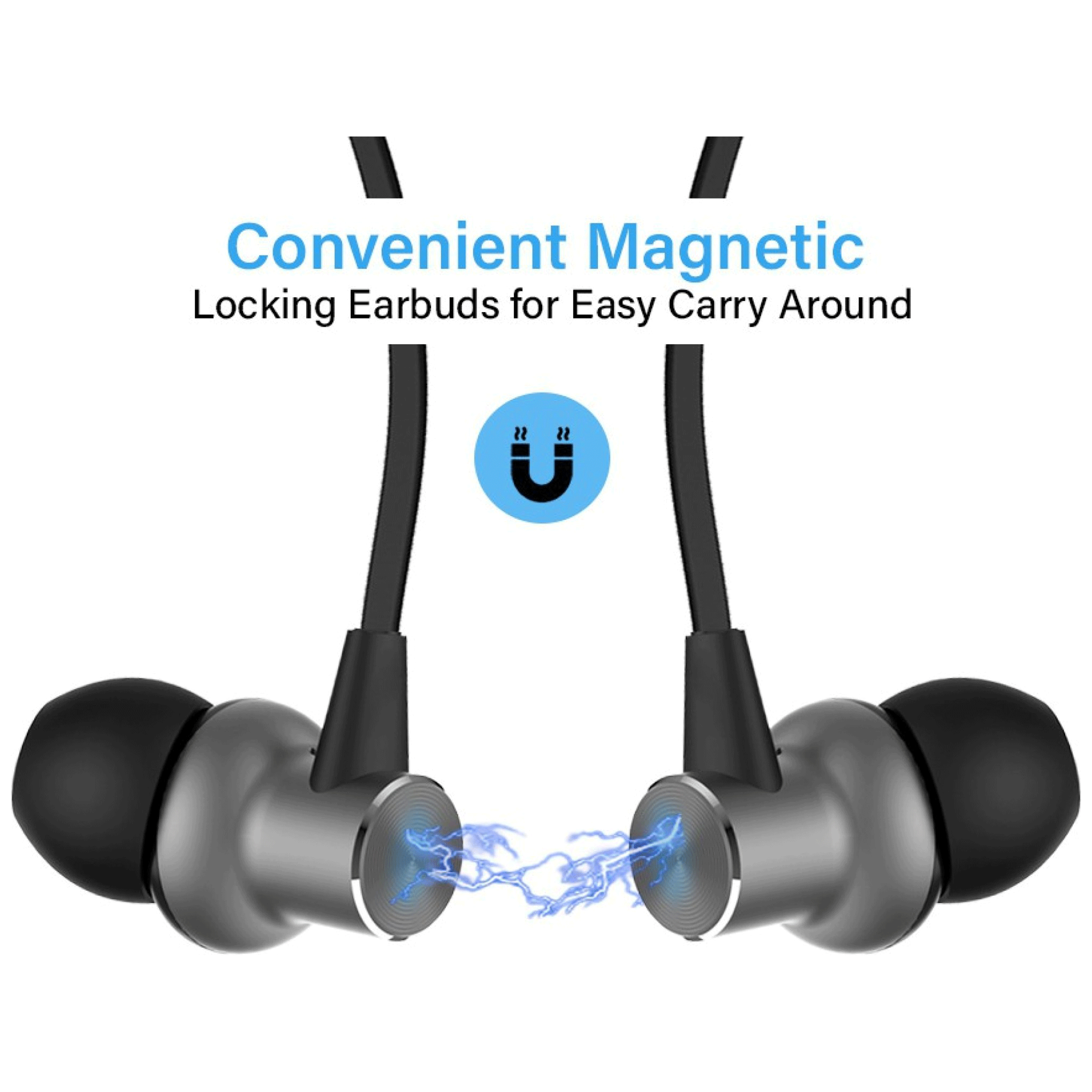 pTron Avento Classic In-Ear Passive Noise Cancellation Wireless Earphone with Mic (Bluetooth 5.0, Magnetic Locking, 140317896, Black/Grey)_3