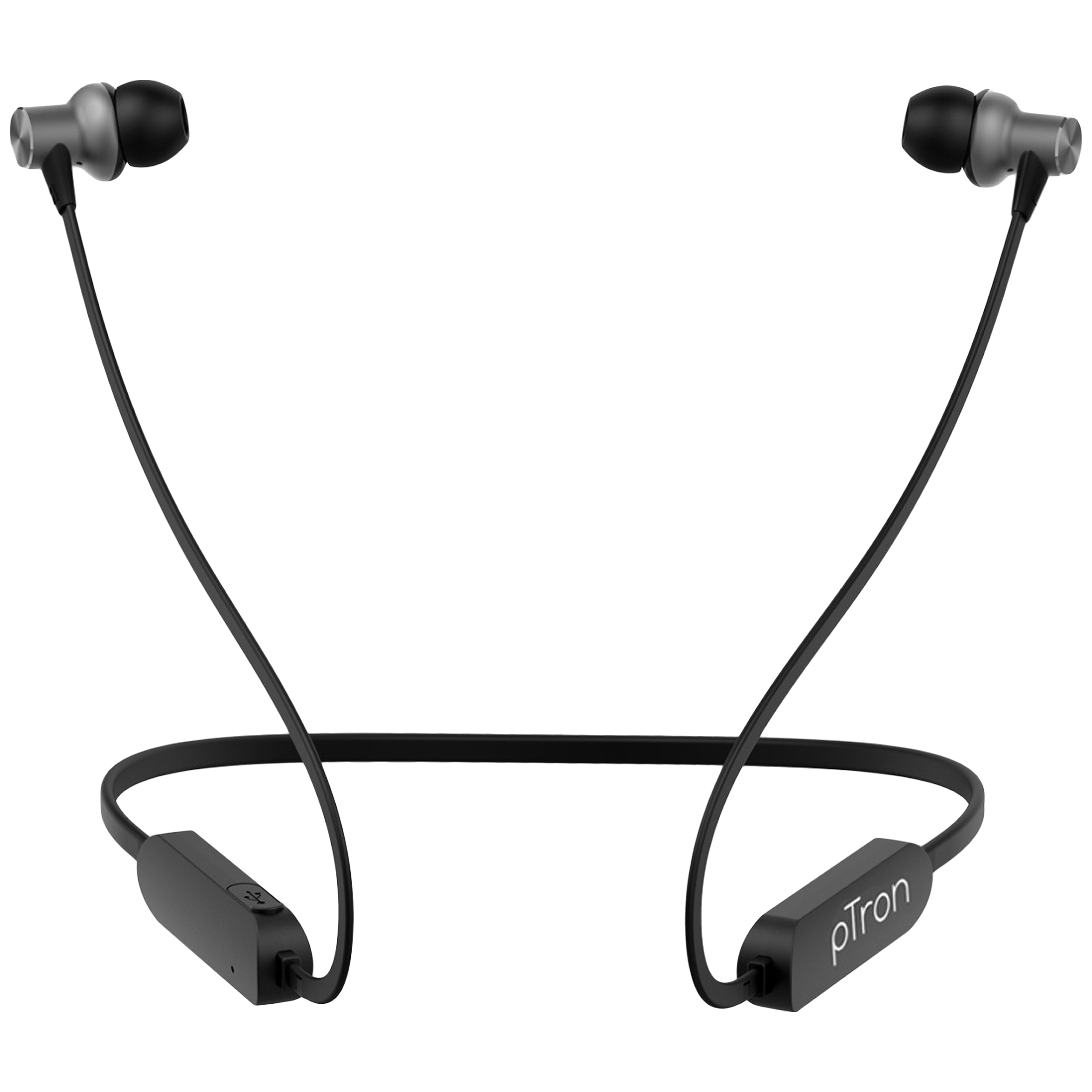 pTron Avento Classic In-Ear Passive Noise Cancellation Wireless Earphone with Mic (Bluetooth 5.0, Magnetic Locking, 140317896, Black/Grey)_1