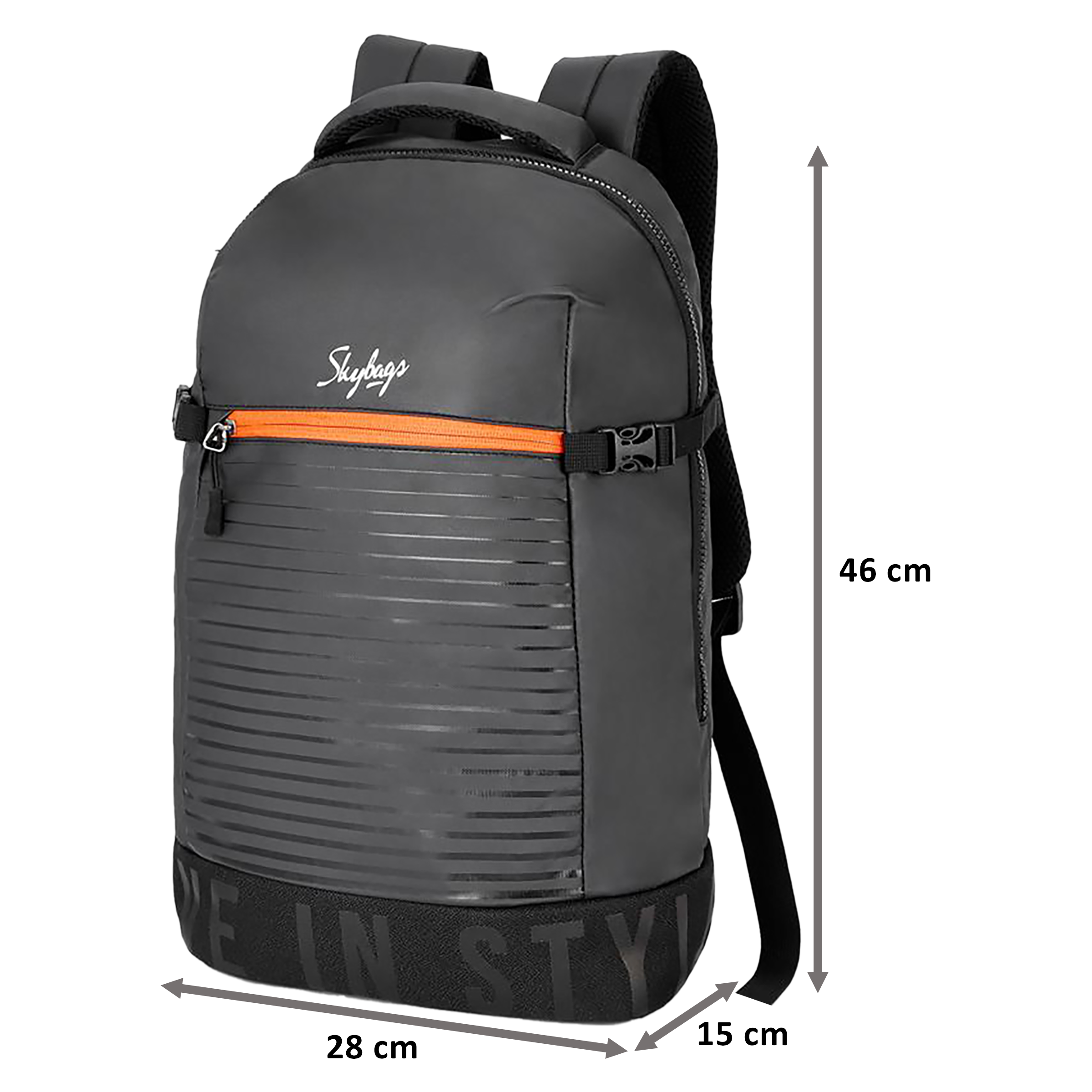 Sky Bags Boho 01 23 Litres Thermoplastic Elastomers Backpack (Rain Cover, BPBOH1RBLK, Black)_2