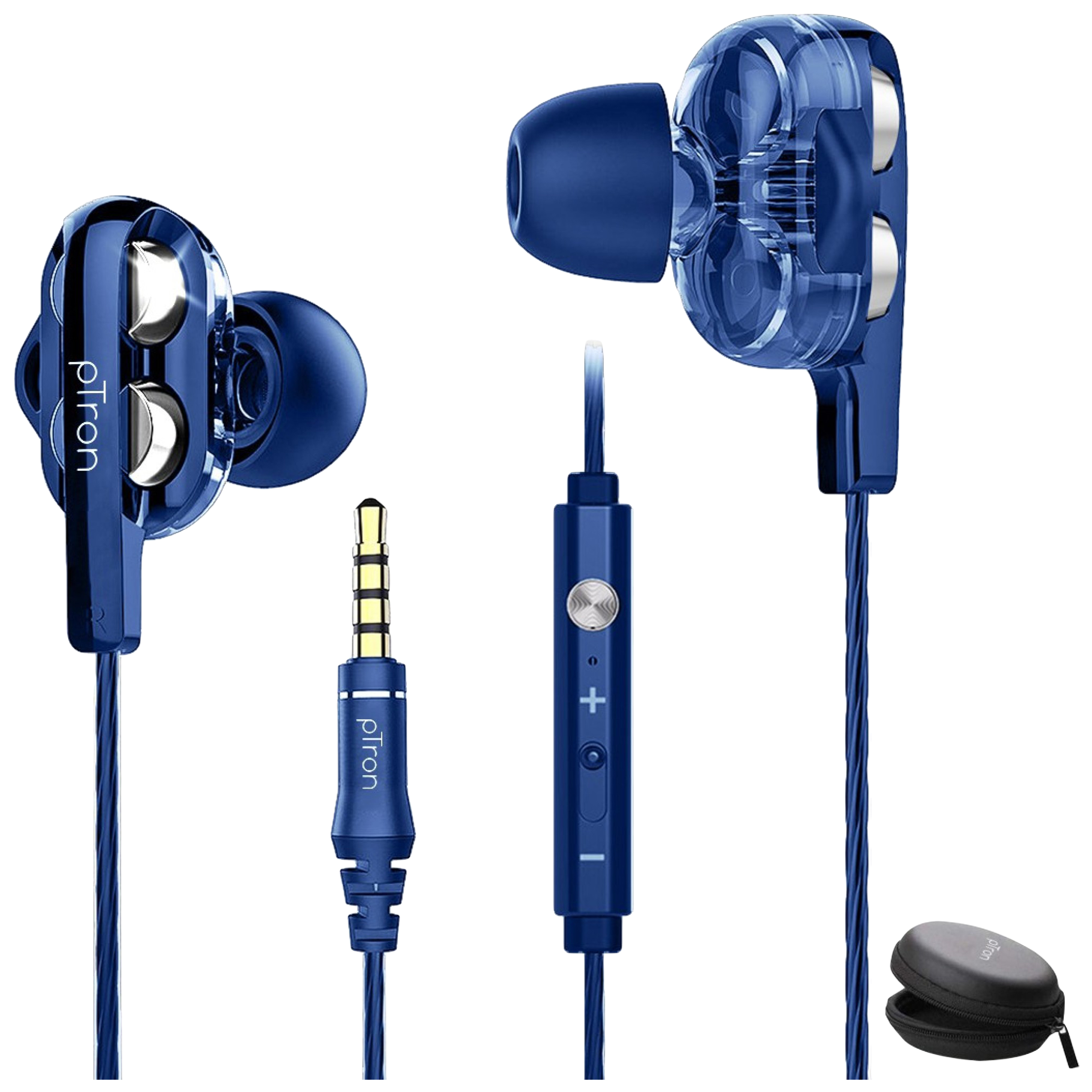 pTron Boom Pro In-Ear Passive Noise Cancellation Wired Earphone with Mic (8mm Dual-Drivers, 140317851, Blue)_1