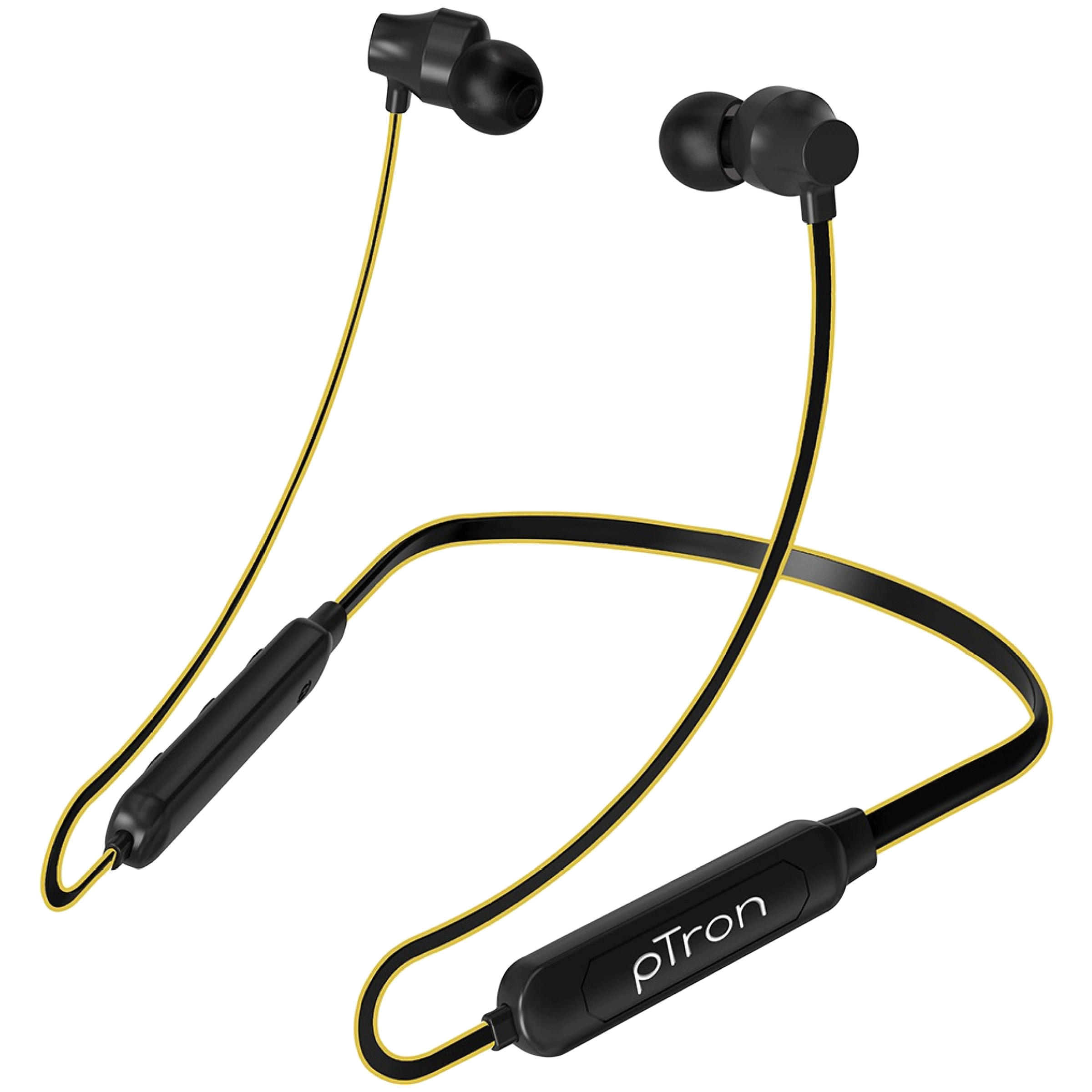 pTron InTunes Lite In-Ear Passive Noise Cancellation Wireless Earphone with Mic (Bluetooth 5.0, Magnetic Metal Earbuds, 140317787, Black/Yellow)_1