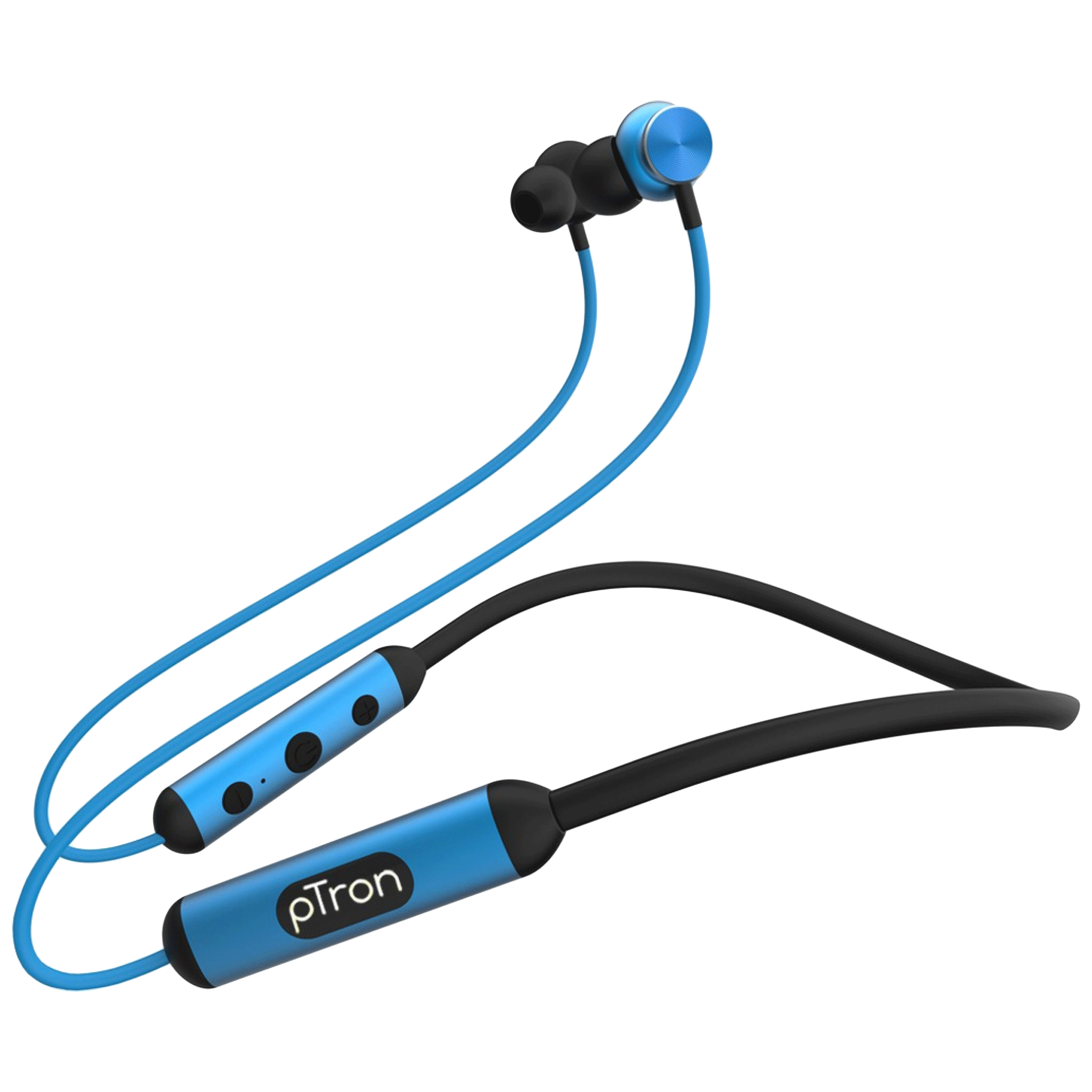 pTron InTunes Ultima In-Ear Passive Noise Cancellation Wireless Earphone with Mic (Bluetooth 5.0, Magnetic Earbuds, 140318023, Black/Blue)_1