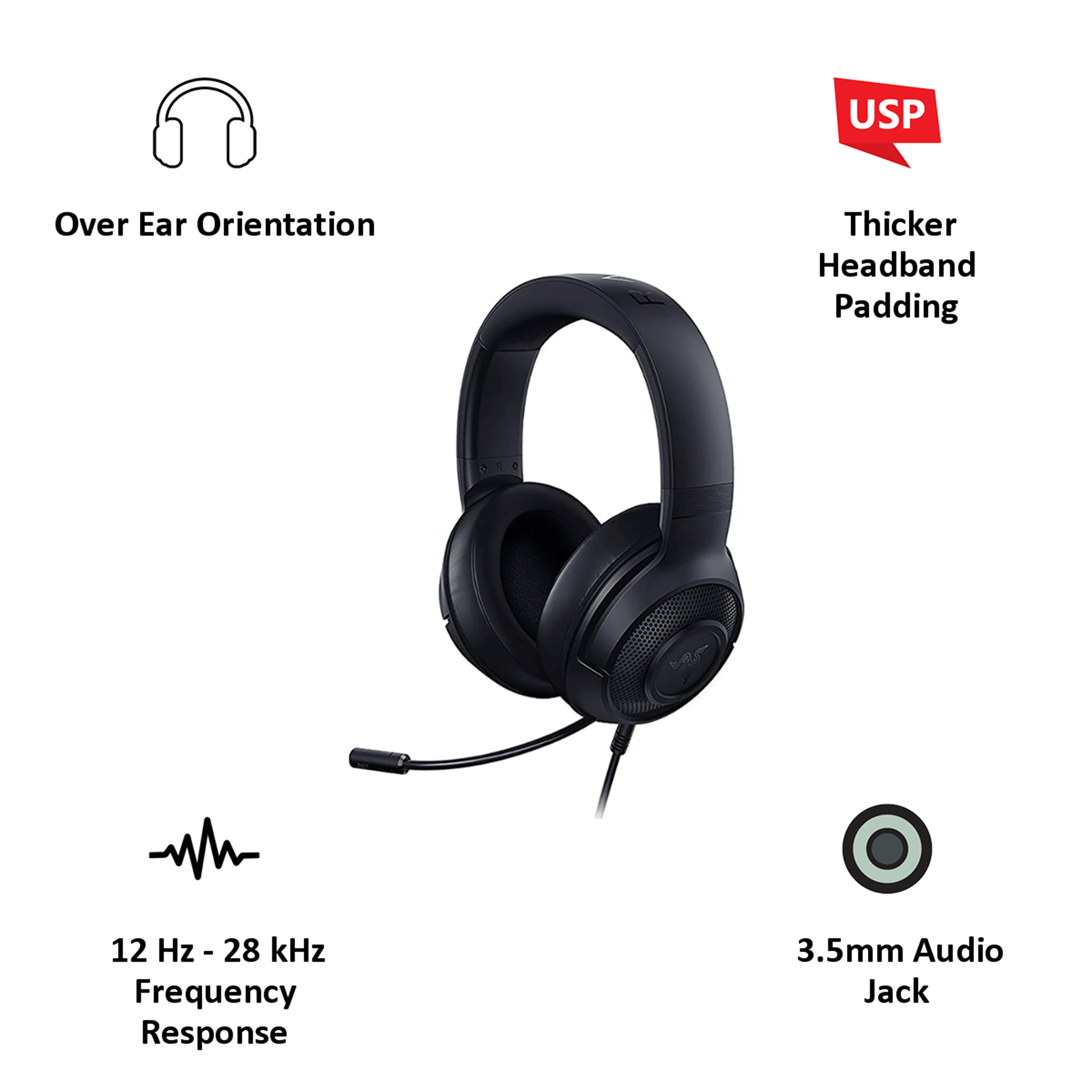 Razer Kraken Over-Ear Wired Gaming Headset with Mic (Clear & Powerful Sound, RZ04-02830100-R3M1, Black)_4