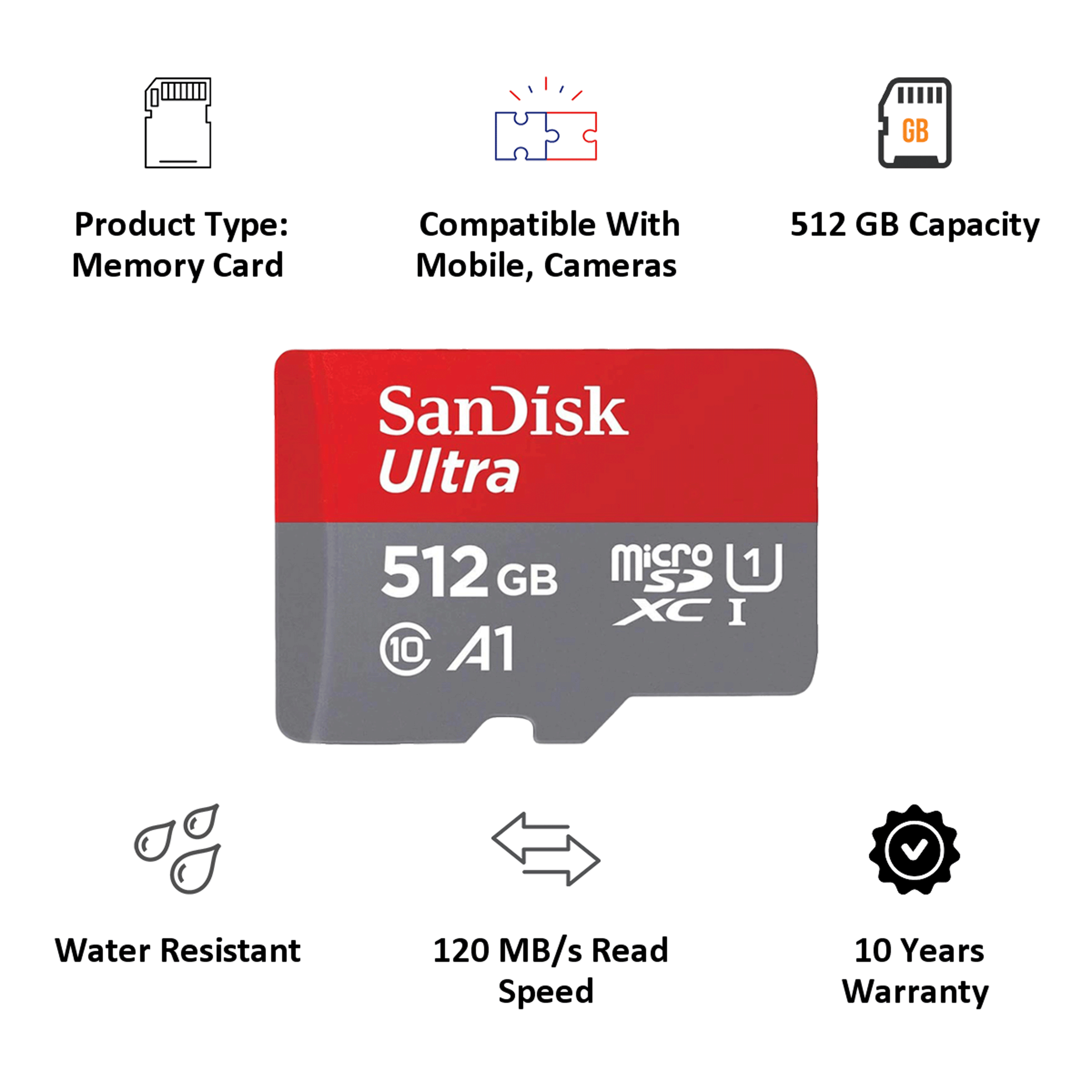 SanDisk Ultra 512GB Class 10 Micro SDXC Memory Card (120 Mbps Read Speed, SDSQUA4-512G-GN6MN, Red)_3