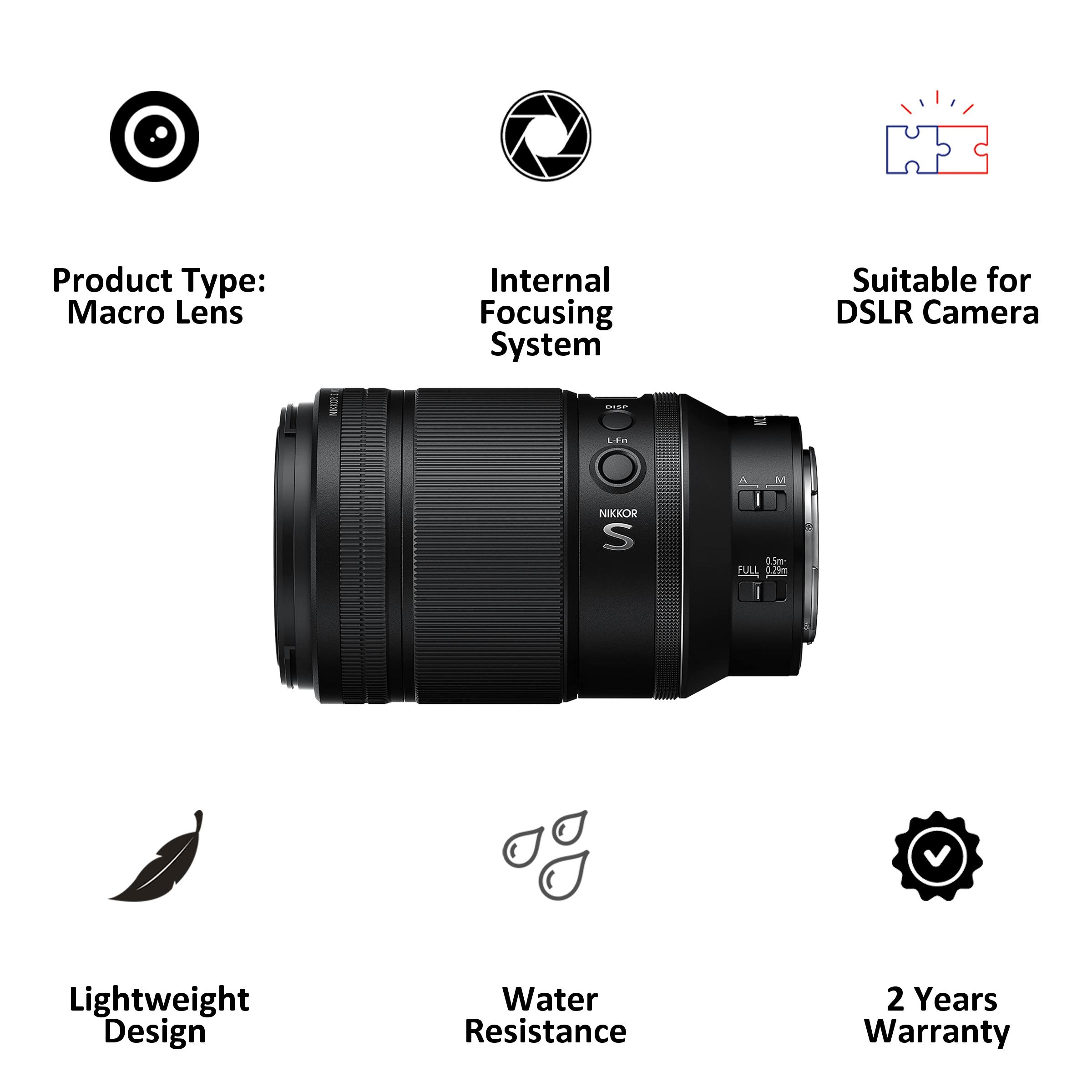 Lens - Nikon Nikkor Z MC 105mm f/2.8 VR S105 mm F32-F2.8 Macro Lens (1:1 Magnification, JMA602DA, Black)_3