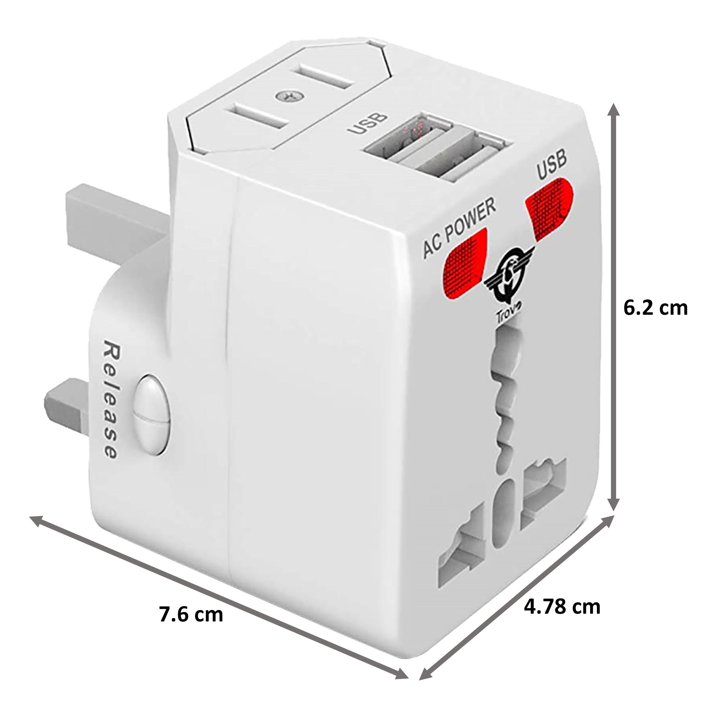 Trovo Plug Pack Lite 3 Plugs Adapter (Dual USB Ports, TTA-11, White)_2