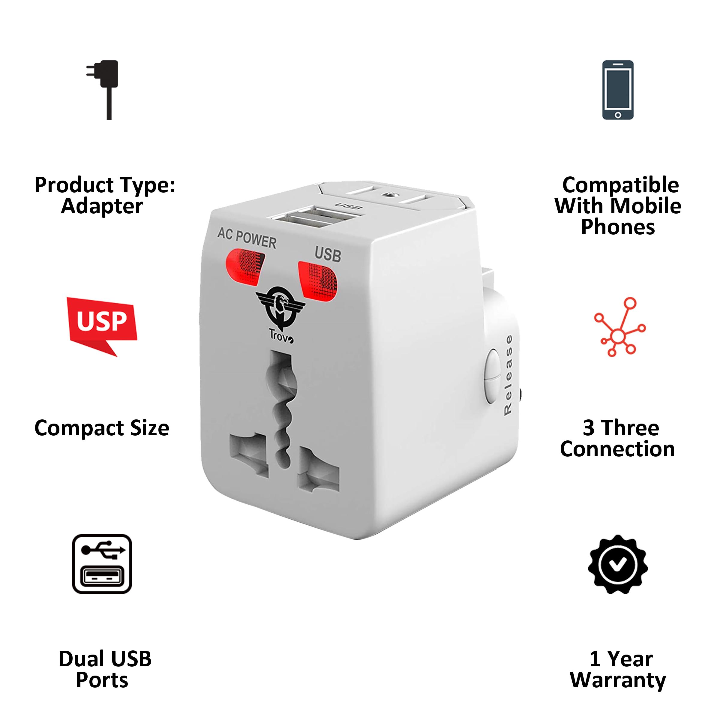 Trovo Plug Pack Lite 3 Plugs Adapter (Dual USB Ports, TTA-11, White)_3